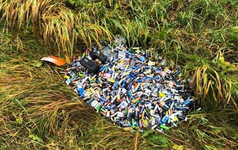 NMBU-student Mathea Brannstorp og to venner fant dette enorme lasset med batterier i grøfta i Ås.