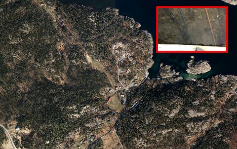 TITALLS: Rør på sjøbunnen v brua i Trollbergvika. Flere rør ligger nedgravd i sand og grus under sjøbunnen, skiver avsenderen av brevet til kommunen. Kartet viser området rundt Trollbergvika.