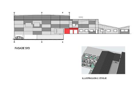 Helsestasjonen skal oppføres ved Abel skole. På illustrasjonen kan man se hvor helsestasjonen vil bli.