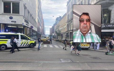 VITNE TIL SKUDDET: Khalil Parsai ble vitne til skuddene i Oslo sentrum mandag.