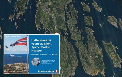 PÅ UTKIKK: Eiendomsmegler Tore Solberg er på utkikk etter en hytte på Tjøme for en klient. Foto: Montasje / Eiendomsmegler 1 / Google maps