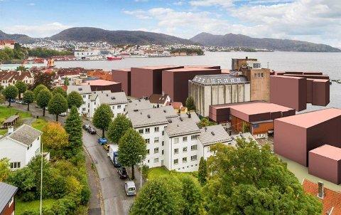 Sivilarkitekt og beboer i Frydenlund boliglag (de hvite husene), Anne Carlsen, har utarbeidet denne illustrasjonen for å vise bebyggelsens dimensjoner i forhold til bakenforliggende boligområder. Illustrasjon: Anne Carlsen