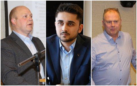 FLERTALL: Varaordfører Bjørn Inge Mydland (Sp), ordfører Jonas Andersen Sayed (KrF) og Atle Støle (Sokndal Listo) danner med sine partier det politiske flertallet i Sokndal. De har lagt fram et felles budsjettforslag for kommende periode.