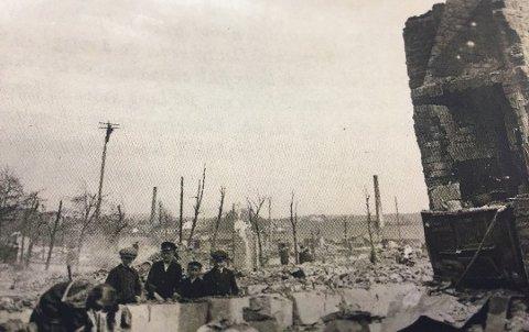 Store skader. Brannen på Guldebergsiden i 1918 er en av de største som har rammet Fredrikstad.