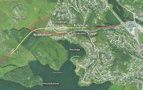 Slik kan det nye veisystemet bli. Fylkesveien til Jæren går i tunnel fra Sandvikveien til Fjermestad (gul linje), mens adkomstveien til Midtfjell går i dagen mellom Raudviga og Rundaberget (rød linje).