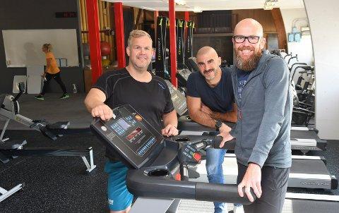 Klare for ny bransje: Kenneth Hovdsveen (f.v.) , Stefano Zatta og Geir Andrè Holum-Jakobsen har tatt over X-FIT Innlandet i Moelv.