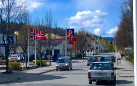 I Brandbu er det heist flagg rundt torget.