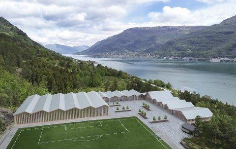 Slik ser en av skissene for den nye skolen på Aga ut. Den skal etter planen ligge i nær tilknytning til idrettsanlegget på Skotamyra.