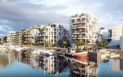FRA SUNDET: Odd Hansen har startet på detaljregulering for det historisk viktige byområdet nord i Smedasundet. Her sett fra Smedasundet mot nordøst.  Illustrasjon: ARCASA arkitekter as