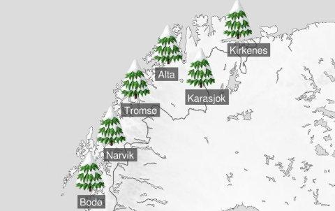 SNØ I VENTE? Prognosene for julaften er usikre og det kan komme nedbør både som regn og snø. Meteorolog tror imidlertid på snø i Finnmark. Skjermdump: @Meteorlogoene