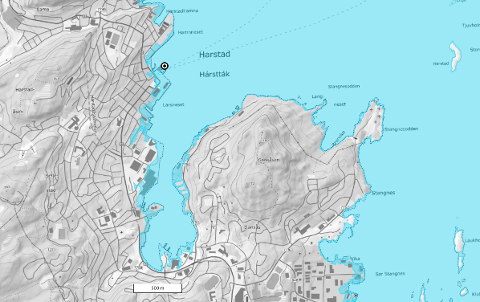 Slik ser sentrale Harstad ut ved 200-årsflo i år 2090. Slik flommer er ventet å komme hvert år i framtiden.