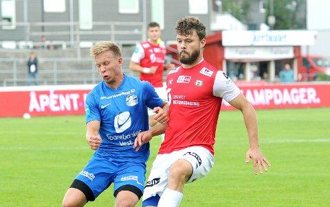 TILBAKE: Rogvi Baldvinsson starter for Bryne mot Vard Haugesund lørdag ettermiddag. Bildet er fra hans forrige start, hjemme mot Sotra 22. august.