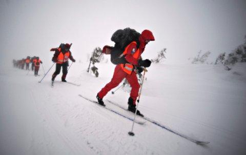 Kongsberg Røde Kors Hjelpekorps. Vinterkurs for nye mannskaper på Blefjell. Vinter skred uvær ski FOTO: JAN STORFOSSEN