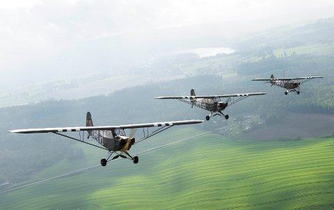 Kjemper fra krigen: Fredag 8. mai går disse flyene, Piper L-4 «Grasshopper», i lufta fra Kjeller flyplass for å markere 75 år siden frigjøringen av Norge.