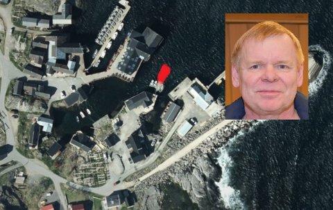 Flyfoto av aktuelt område på Å, med omtrentlig inntegnet med rødt der ønsket flytebrygge ønskes anlagt. Teknisk sjef Øystein Solaas (innfelt) sier kommunen ikke har lovhjemmel til å avslå søknaden.