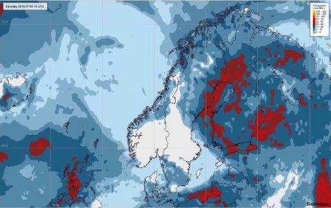 FINVÆR: Bildet viser totalnedbør fra torsdag klokken 20 til lørdag klokken 20, da det i prinsippet blir tørt over store deler av Sør-Norge i tre døgn.