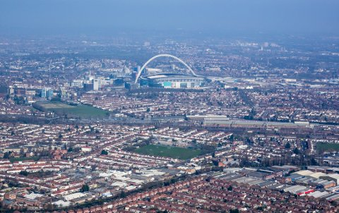 Aerial view of Wembley, London
