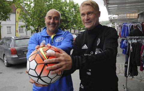 Per Frode Andreassen (t.v.) og Thormod Haugen er trenere for to av lagene som kjemper om kvalikplass for 4. divisjon.