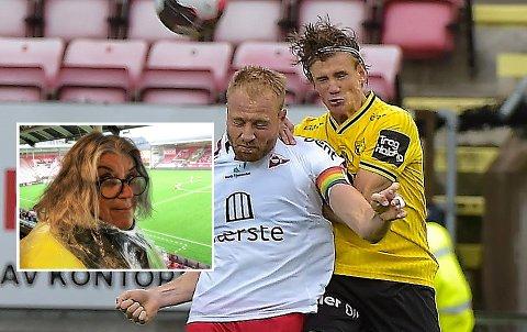 SPENT: Metter Tveter Lysvik (innfelt) er både Raufoss og FFK-supporter og var glad duellen mellom de to tidligere naboene Nicolai Fosso fremstad og Henrik Kjelsrud Johansen endte 1-1.