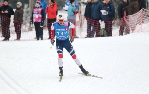 Martin Løwstrøm Nyenget i aksjon på fredagens 15 kilometer i fristil.
