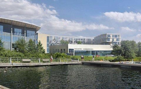 VÅT DRØM: Slik så politikerne i Oppegård for seg svømmehallen ved Kolben. Nåvil rådmannen selge tomta.