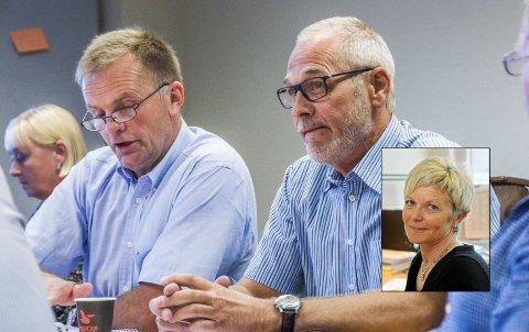 Hadde mandatet i orden: Ordførerne Knut Olav Omholt (t.v.) og Rune Høiseth var blant dem som bidro til å vedta et lønnshopp på minst 140.000 kroner for nåværende Lardal-rådmann Mette Hvål (innfelt). Nå har Fylkesmannen i Vestfold konkludert med at vedtaket var lovlig.