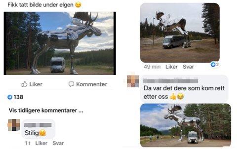 DELER PÅ FACEBOOK: En rekke personer halt delt bilder av at de kjører bobilen sin under Storelgen. Skjermdump: Facebook