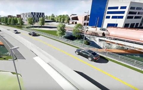 NY VEI: Vegvesenet har illustrert ny fylkesvei gjennom Lilleelvkrysset på denne måten. Hvordan snarveien som er vedtatt som rekkefølgekrav skal gjennomføres er lite besvart.