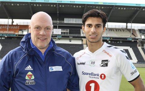 FORNØYDE: Tom Nordengen (Eidanger) og Bjørn Mæland.