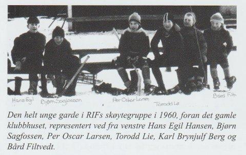 "1960: Dette bildet viser at vi var i en overgangsfase fra hockey til lengdeløpsskøyter i 1960. (faksimile fra jubileumsboken ""RIF helt i 100"")."