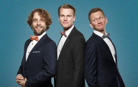 Tre tenorer under treet?: Sveinung Hølmebakk, Jan-Tore Saltnes og Roald Haarr. Kan pakkes opp 7. februar.
