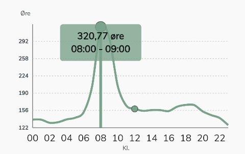 PRISREKORD: Aldri før har strømmen vært så dyr som den var mandag morgen. Denne strømkunden i Hønefoss betalte over 3 kroner per kilowattime mellom klokken 08 og 09 (påslag inkludert).