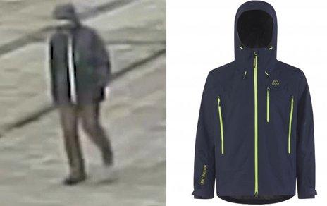 TROLIG JAKKE: Politiet mener jakken den uidentifiserte mannen bar var av merket Missing Link og modellen var Youcon.