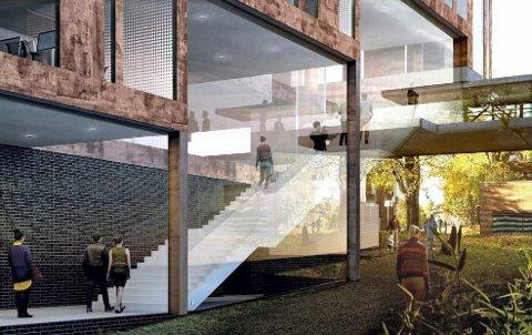 Nesten gryteklart: Slik så Lund Hagem Arkitekter AS for seg at den nye kinoen skulle bli seende ut. Fire etasjer, fire kinosaler nederst, og tre etasjer med kontorer over. Illustrasjon: Lund Hagem Arkitekter AS