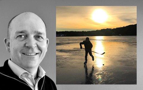 Vinner: Karl Wærner Longvastøl ble vinner av Instavinter med motlysbilde av sønnen Morten på Goksjøisen.