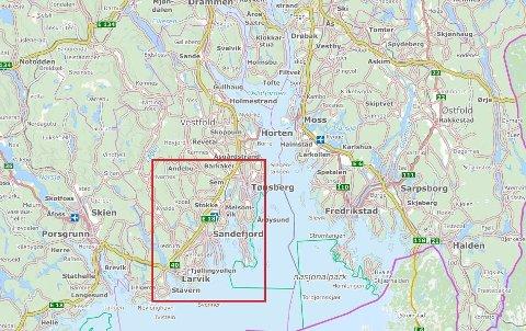 OMVENDT VOLDSALARM: Den røde firkanten illustrerer området den dømte 56-åringen ikke kan besøke.