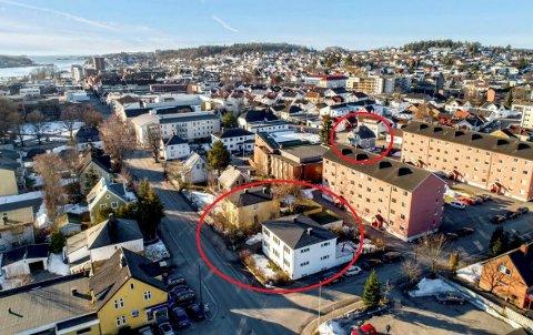 KVARTAL: Den vedtatte reguleringsplanen omfatter området mellom Skiringssalveien, Dronningens gate, Flors gate og Schanches gate. De to eiendommene som Inter Eiendom har kjøpt, er merket med rød ring.