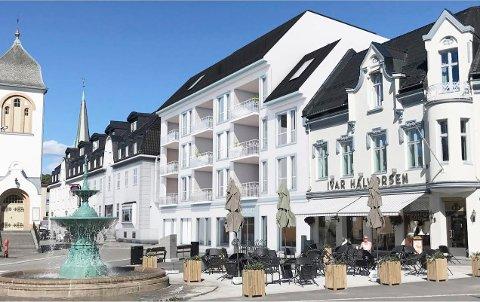 BYGGER SAMMEN: Hotel Atlantic og Hjertnes Eiendom har kommet fram til denne løsningen på Hvidts Plass. (Illustrasjon: Spir Arkitekter)