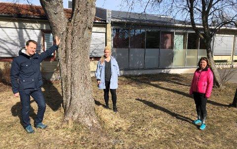 VESTERØY: Venstre-politikerne Peder Sunde (f.v.), Camilla Bilstad Johannessen og Karin Virik ønsker at Vesterøy skole, i bakgrunnen, fortsatt skal være en nærskole.