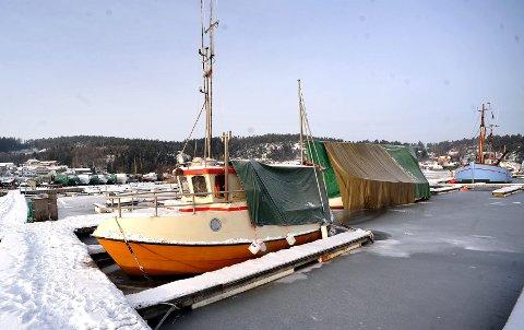NEDISEDE BÅTER: Nå advarer Meteorologisk Institutt mot ising på båter i Østfold. Dette motivet er hentet fra Skjebergkilens Marina en tidligere kald vinter.
