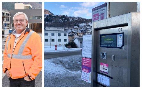 NYE AUTOMATAR: Overgangen til billettlaus parkering har ikkje vore heilt knirkefri for Arve Hafstad og Sogndal kommune.