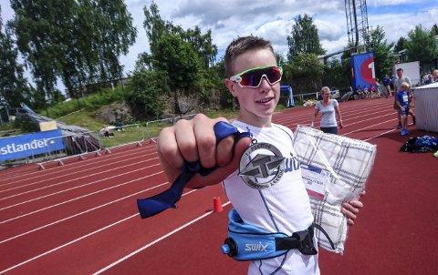 Vant: Vebjørn Hovdejord vant 1500 meter i klasse 14 år under Tyrvinglekene, 4.28,98 ble sluttiden på 1500 meter. En meget sterk prestasjon i konkurranse med 15 andre. (Foto: John Lars Hovdejord)