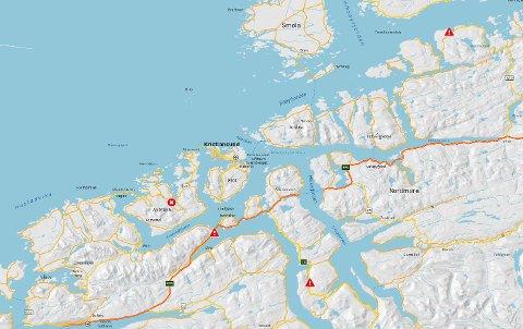 Skjermdump av Statens vegvesens kart med trafikkmeldinger.