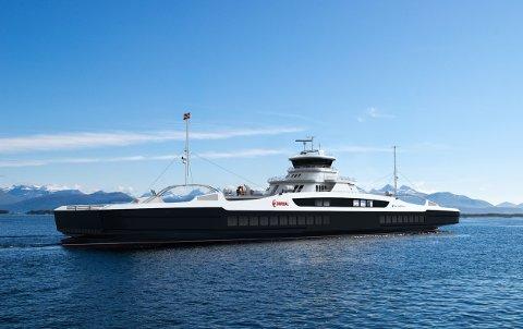 ELFERGE: Molde–Vestnes-sambandet vil bli betjent med tre nybygde elferger og to moderne, ombygde ferger, som skal gå med 20 minutters mellomrom.