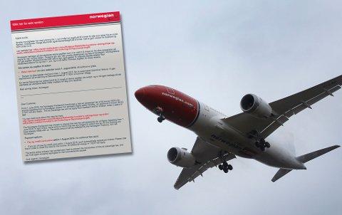 KREVER AVGIFT: Flyselskapet Norwegian har sendt ut brev til reisende om at de må betale inn flyseteavgift før 1. august. Foto: NTB Scanpix og faksimile (innfelt).