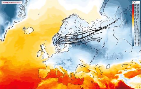 FRA SIBIR: Det er liten tvil på hvor kulden kommer fra. De svarte strekene viser hvordan lufta beveger seg de neste dagene.
