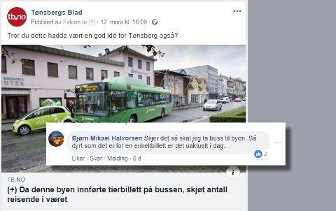 VINNER: Her er kommentaren på facebook som ble trukket ut. Artikkelen som ble kommentert dreier seg om bussbillett for en tier.