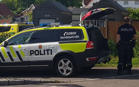 RYKKET UT: Flere politipatruljer, deriblant hundepatruljen, og ambulansen rykket ut etter melding om knivstikking.