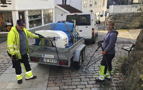 Holder orden: Odd Kleivane og Yvonne Nordseth fjerner ugress langs veikanten.