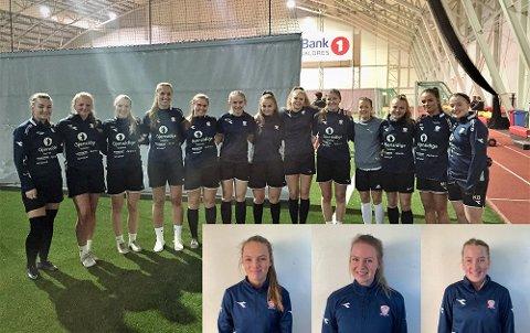 Får ikke trent: De tre innfelte i bildet, f.v. Monica Strand, Ingrid Elise Bråten og Kristin Bråten, er over 20 år og får ikke trene med resten av damelaget til Valdres FK.